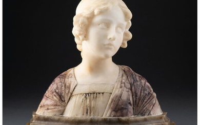 A Carved Marble Bust of a Woman on a Green Marble Plinth