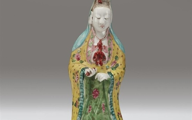 A Chinese enameled porcelain figure of Guanyin Qing dynasty,...