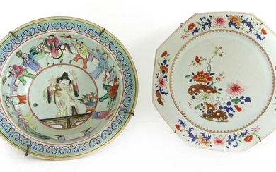 A Chinese export famille rose dish
