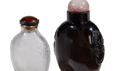 A Chinese smokey quartz snuff bottle and rose quartz...