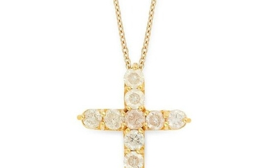 A DIAMOND CROSS PENDANT AND CHAIN in 14ct yellow gold