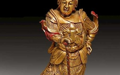 A FINE WOOD SCULPTURE OF WEITUO.