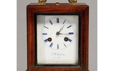 A FRENCH ROSEWOOD AND INLAID MANTEL CLOCK OF BALE SHAPE, C18...