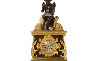 A French Louis Philippe gilt and patinated bronze mantel clock. Mid 19th century. H. 60...