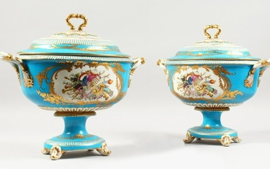 A GOOD PAIR OF SEVRES STYLE TWO HANDLED OVAL TUREENS
