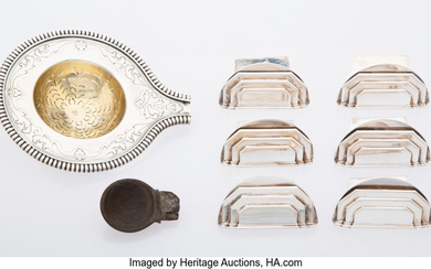 A Group of Six Cardeilhac Silver Place Card Holders and Tea Strainer (early 20th century)