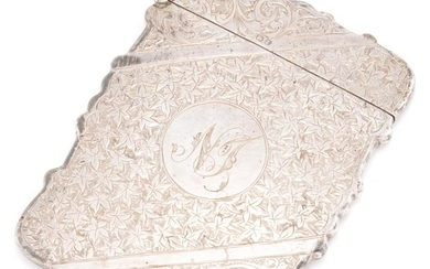 A HALLMARKED STERLING SILVER CARD CASE; engraved front and back with ivy leaf pattern and scrolls with monogram NT, hallmarked H&A B...