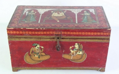 A Hand Painted Indian Themed Sewing Box (41cm x 21cm x 23cm)