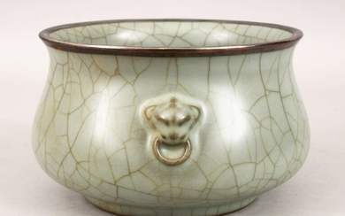 A LARGE CHINESE GUAN WARE CENSER WITH SILVER MOUNTED