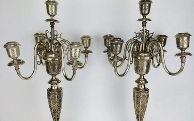 A LARGE PAIR OF PERSIAN SILVER 5 LIGHT CANDELABRA