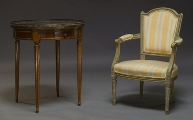 A Louis XVI style mahogany and brass inlaid Bouillotte table,...
