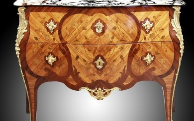 A Louis XV/XVI Style Ormolu Mounted Commode