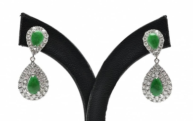 A PAIR OF JADE AND DIAMOND EARRINGS WITH TYPE A JADE CERTIFICATION IN 18CT WHITE GOLD