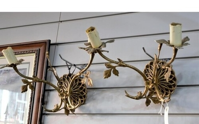 A Pair of 19th Century Style Brass Twin Branch Wall Sconce.