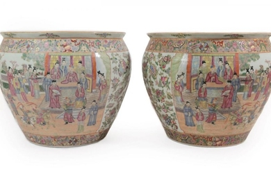 A Pair of Cantonese Porcelain Fish Bowls, late 19th/20th century,...