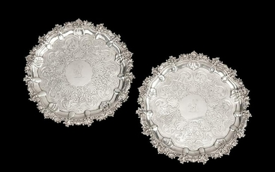 A Pair of George IV Scottish Silver Trays Diameter 11