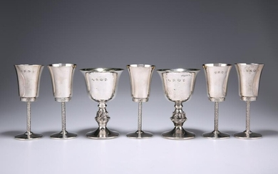 A SUITE OF FIVE CONTEMPORARY SILVER GOBLETS, by