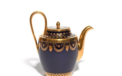 A Sèvres coffee pot and cover dated 1815, of Neoclassical shape, the ovoid body decorated with bunches of grapes suspended between husk swags, the neck with a formal leaf border, on a rich mazarine blue ground, printed mark, inscribed '17 M 15' to the...