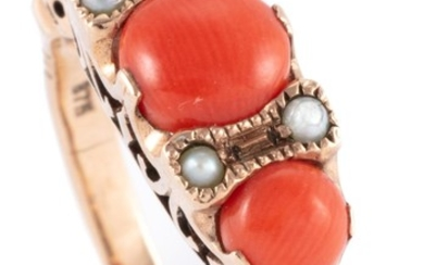 A VICTORIAN STYLE CORAL AND PEARL RING; featuring 3 graduated coral beads set adjacent to 6 seed pearls on a carved gallery in 9ct g...