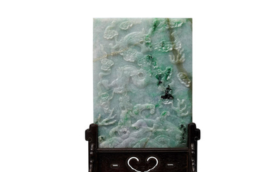 A carved jadeite table screen