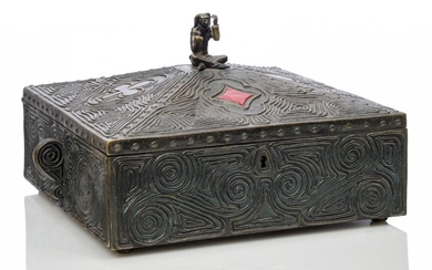 A cold-painted bronze card box, possibly American First quarter 20th...