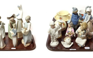 A collection of Lladro and Nao figure groups (some a.f.),...