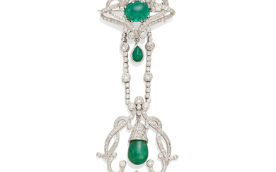 A diamond and emerald drop brooch