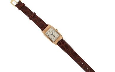 A gentleman's gold wristwatch by Longines, the signed...