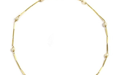 A gold cultured pearl necklace, cultured pearls, 5 to 5.5mm in size, wire set with gold bar links between, to bolt ring clasp, marked 750, 415mm long, 9.05g