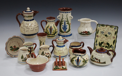 A large mixed collection of assorted motto ware, including a Watcombe hair curling tongs tile, a two