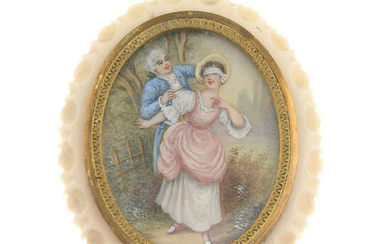 A late 19th century painted ivory brooch.
