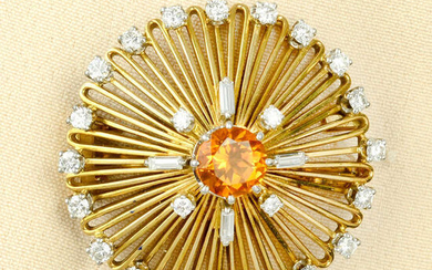 A mid 20th century citrine and diamond stylised floral brooch