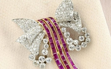 A mid 20th century platinum and 18ct gold ruby and