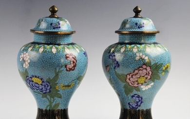 A pair of Chinese cloisonné vases and covers, 20th century, ...