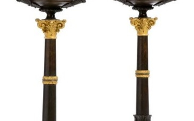 A pair of Louis Philippe bronze candelabra lamps