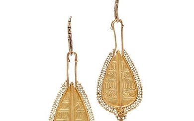 A pair of South East Asian pendant earrings