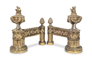 A pair of late 19th century French gilt bronze chenets