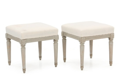 A pair of signed and painted Gustavian stools. Both signed MLB. Sweden, late 18th century. (2).