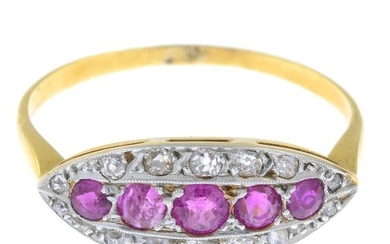 A ruby and diamond dress ring.Estimated total diamond...