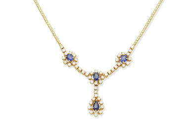 A sapphire and diamond cluster necklace