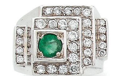 A white gold (750) signet ring, the stepped...