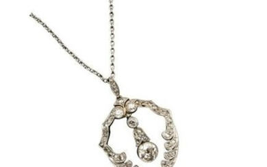 AN EARLY 20TH CENTURY DIAMOND PENDANT NECKLACE The