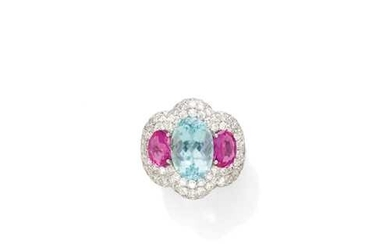 AQUAMARINE, PINK SAPPHIRE AND DIAMOND RING.