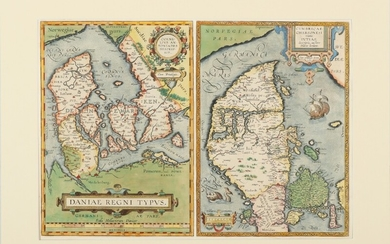"Abraham Ortelius: ""Daniae Regnum Typus"" and ""Cimbrica Chersonesi"". Two engraved handcoloured maps of Denmark, c. 1595. Visible size in one frame 45×57 cm."
