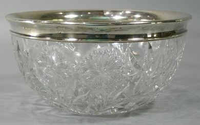 American Cut Glass Bowl with Gorham Sterling Silver Rim