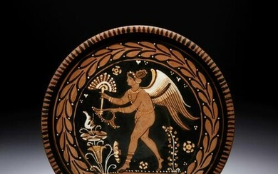 An Apulian Red-Figured Plate with Striding Eros