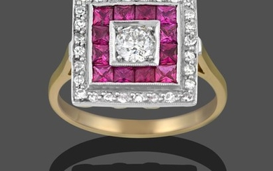 An Art Deco Style Ruby and Diamond Ring, the central...