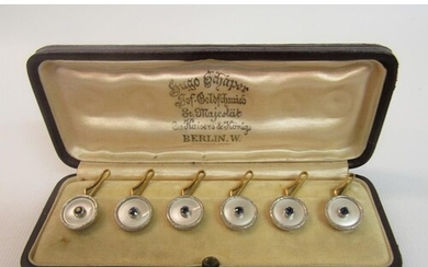 An Edwardian period boxed set of six mother of pearl gold ba...