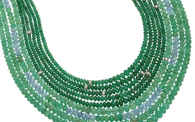 An Emerald, aquamarine and diamond necklace, composed...