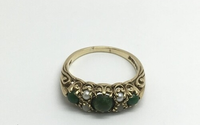 Another 9ct gold ring set with seed pearls and green stones,...